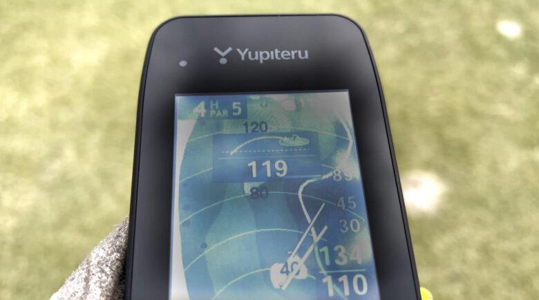 ユピテルYGN7000打つべき距離の表示